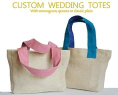 Wedding Monogram Jute Tote Bag Personalized Burlap Hessian Welcome Totes Gift Baby Shower Bridesmaids Bachelorette Thanksgiving Graduation  Monogrammed jute totes are the perfect accessory for you or