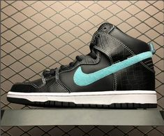 b6178bc43b79 Buy Nike SB Dunk High Pro Swoosh Black Blue Silver Sneakers