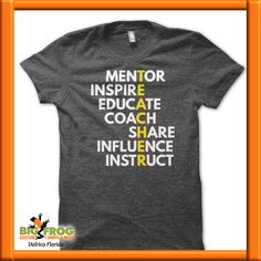 If you're a teacher, you know that teaching means not only guiding your student through the process of discovery, you must also be a mentor to help inspire creativity and educate each individual. School Shirts, Teacher Shirts, Teacher Wear, Student Teacher, Teaching Outfits, Teaching Clothes, Team Teaching, Teaching Secondary, Teacher Wardrobe