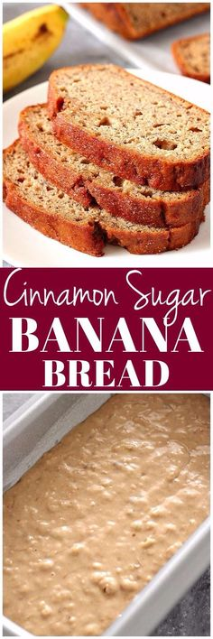 Cinnamon Sugar Banana Bread Recipe - perfectly moist and delicious banana bread brushed with melted butter and sprinkled with cinnamon sugar. Perfect use for overripe bananas!