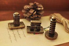 kawaii zakka cute Travel LANDMARK RETRO SEAL assorted craft diary rubber stamp, £8.00