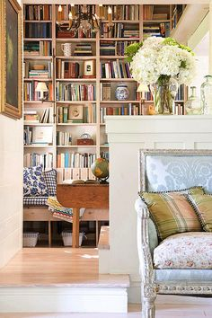 Beautiful country chic library.