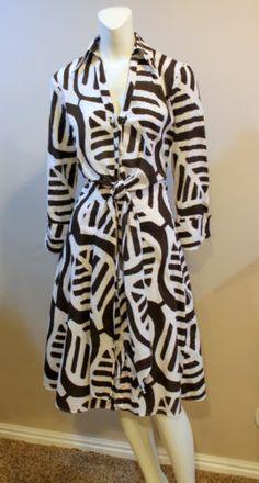 $69.99 Diane Von Furstenberg White Brown Cotton Wrap Shirt Dress Tie Front 8 | eBay