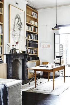 Black & Gold Home Office Design - Loving The Black Fireplace. Very Edgy Modern fireplace, Black & Gold Home Office Design Home Office Design, Home Office Decor, House Design, Home Decor, Office Ideas, Office Designs, Office Themes, Office Inspo, Cozy Office