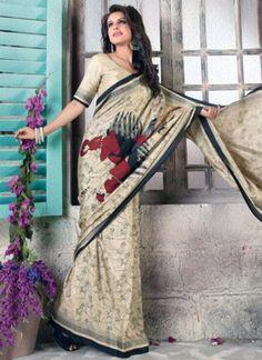 Surpassing Beige Bhagalpuri Silk Casual Wear Printed Saree - Luxefashion Internet Inc