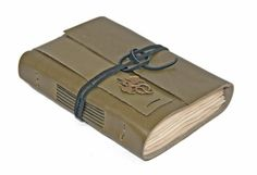 Olive Green Leather Journal with Tea Stained Paper by boundbyhand