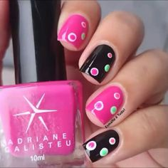 Black pink nails with pops of polka dot colors