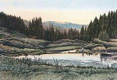 Black Fox is a fun fishing spot in the western Black Hills, west of Rochford, with beautiful scenery and lots of small and eager Brook Trout. The original was inspired by a beautiful summer evening fishing with Roy Dishman (Jon's accountant) John Crane, Hill City, Custom Framing, Watercolor Paintings, Scenery, Art Gallery, Fine Art Prints, Poster Prints, Artist