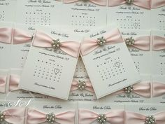 Pearl Wedding Calendar Save the Dates, Handmade Luxury Save the date, Elegant Save the Date - sample or pk of 10