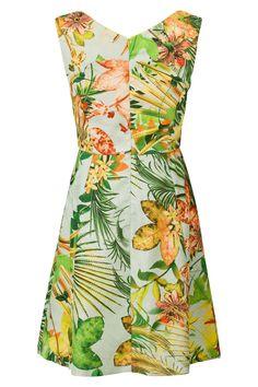 Mouwloze jurk met tropische print Mintgroen