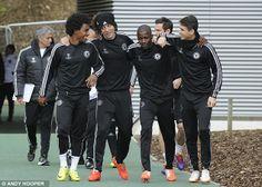 Samba stars: Willian, David Luiz, Ramires and Oscar lark about at the club's Coham training ground