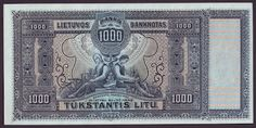 Lithuania banknotes 1000 Litu banknote of 1924.