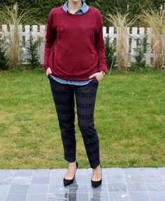 Fashion Caramel: The plaid trousers and the black suede pumps