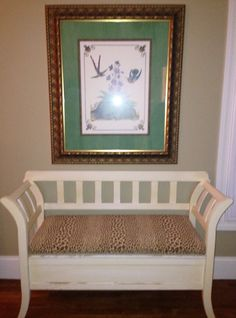 Watercress Springs Estate Sales » Silvermine Estate Sale - Watercress Springs Estate Sales - White Bench with Upholstered Seat and Large Framed Print