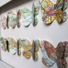 love this idea... you could create a shadow box full of these with maps of places you've visited