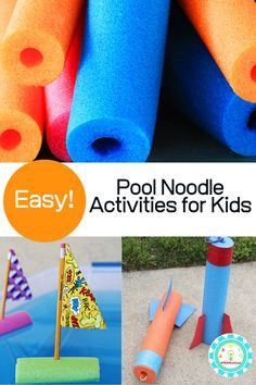 Kids will love these pool noodle activities. Learn with pool noodles and try these pool noodle STEM activities at home today! Indoor Activities For Toddlers, Water Games For Kids, Stem For Kids, Summer Crafts For Kids, Summer Activities For Kids, Holiday Activities, Summer Diy, Stem Activities, Kid Crafts