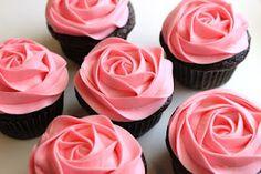 Pink rose cupcakes #food #recipe #dessert