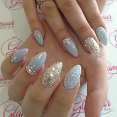 Almond nails with glitter, Swarovski crystals and lace details
