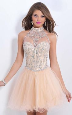 2015 Champagne Homecoming Dresses High Neck Beaded Crystal Short Mini Prom Dresses Party Gown
