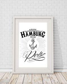 """A4 Print Spruch """"Hamburg meine Perle"""" von Beiderhase Grafik und Design auf DaWanda.com"""