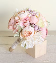 Silk Bridal Bouquet Pink Peonies Dusty Miller by braggingbags, $110.00
