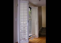 Shutters for Sliding Glass Doors - Stanfield Shutters  I like this idea for the master bedroom slider.