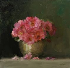 "By Nancy Tips.""Each of my paintings is an exploration of individual flowers or fruit and particular light. To me, the most natural way to carry out this exploration is using the alla prima method, which is characterized by bold brushwork and atmospheric effects. Thank you, Jala!"