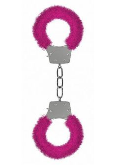 Ouch! Pleasure Furry Handcuffs Pink - Play around and lock up your lover with these great and naughty Pleasure Handcuffs. The locking mechanism has a quick-release button in case you lose both keys. Specifications: Material Metal, Faux Fur.