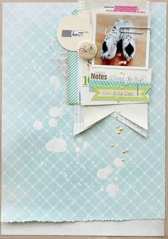 Paperclip notes style scrapbooking page by Janna Werner Scrapbook Paper Crafts, Diy Scrapbook, Scrapbook Pages, Scrapbook Photos, Scrapbook Sketches, Scrapbooking Layouts, Mini Albums, Project Life, Album Diy