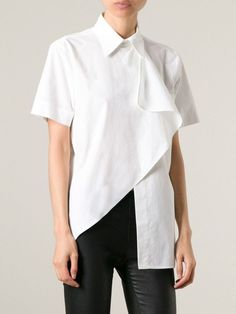 Moschino Asymmetric Shirt - Suit - Farfetch.com - mens olive green button down shirt, mens white shirts sale, mens white patterned shirt *ad