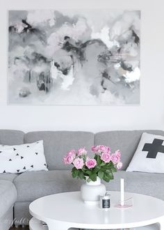 painting on the wall, scandinavian home