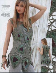 Zhurnal MOD, MOA Fashion Magazine No 508 knitting and crochet patterns Crochet Diy, Freeform Crochet, Crochet Blouse, Irish Crochet, Crochet Triangle, Hairpin Lace, Crochet Magazine, Crochet Clothes, Ideias Fashion