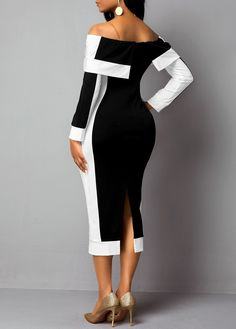 Back Slit Long Sleeve Off the Shoulder Dress Chic Outfits, Dress Outfits, Fashion Outfits, African Fashion Traditional, Slit Dress, African Fashion Dresses, Black Cocktail Dress, Classy Dress, Elegant Dresses