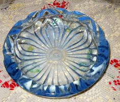 Blue Glass Ash Tray Glassware Art Collectible by FromGlenToGlen, $45.00