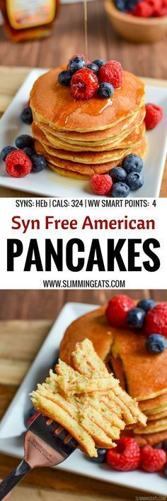 The most delicious, Fluffy Syn Free American Style Pancakes that you will ever make. A perfect breakfast or dessert. Gluten Free, Vegetarian, Slimming World and Weight Watchers friendly   SYNS: 0 (HEB)   CALORIES: 324   WEIGHT WATCHERS SMART POINTS: 4   www.slimmingeats.com