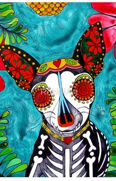 "Sugar Skull Chihuahua Dog Print ""Day of the Dead"" ""Folk Art"" Chihuahuas by RobiniArt on Etsy Dog Tattoos, Cat Tattoo, Tattoo Animal, Chicano Tattoos, Chihuahua Art, Day Of The Dead Art, Pet Loss Gifts, Sugar Skull Art, Sugar Skulls"
