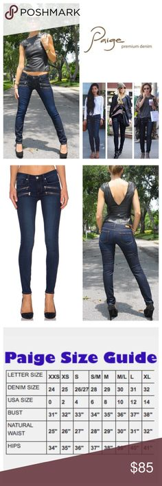 """Paige Edgemont Ultra Skinny Jeans.  NWT. Paige Edgemont Amaris No Whiskers Ultra Skinny Jeans, 54% rayon, 23% cotton, 22% polyester, 1% spandex, machine washable, 31"""" waist, 8.75"""" front rise, 13.75"""" back rise, 30"""" inseam, 10"""" leg opening, stretchy, contrast zip pockets, classic five pockets, belt loops, zip fly button closure, measurements are approx.  Paige new Transcend fabric features a formula that yields luxuriously denim that won't stretch out and will turn heads with its flawless fit…"""