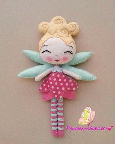 Felt Patterns, Stuffed Toys Patterns, Sewing Crafts, Sewing Projects, Felt Kids, Felt Christmas Decorations, Felt Fairy, Felt Cat, Fairy Dolls