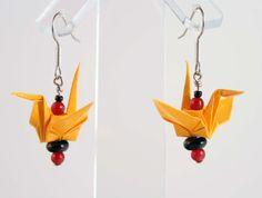 Yellow Oragami Crane Earrings