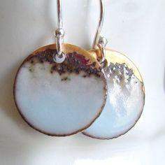 Pale Blue Earrings Periwinkle Enamel on Copper by VerreEncore, $26.00