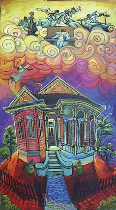 SOLD 300 Posters of this original image made for the 2008 Algiers River Fest. Acrylic on wood Festival Paint, Louisiana Art, New Orleans Art, Whimsical Art, Black Art, Art And Architecture, Original Artwork, Original Image, Home Art