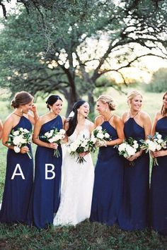 Cheap Navy Blue Halter &One Shoulder Long Bridesmaid Dresses Navy Bridesmaid Dresses, Bridesmaid Dresses, Cheap Bridesmaid Dresses, Bridesmaid Dresses Blue Bridesmaid Dresses 2018 Navy Blue Bridesmaid Dresses, Wedding Bridesmaid Dresses, Bridesmaid Colours, Royal Blue Bridesmaids, Different Bridesmaid Dresses, Bridesmaid Bouquet White, Bridesmaid Outfit, Bridesmaid Ideas, Wedding Party Dresses