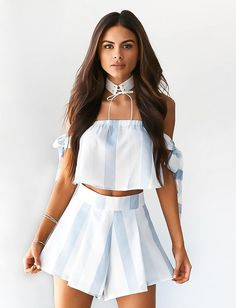 BiLaRyThy Apparel Off Shoulder Striped Two-piece Playsuit Summer Style Slash Neck Bow Sleeve Overalls Short Jumpsuit Romper Crop Top And Shorts, Striped Shorts, Striped Jumpsuits, Hot Shorts, Rompers Women, Jumpsuits For Women, Crop Top Et Short, Off The Shoulder Playsuit, Striped Two Piece