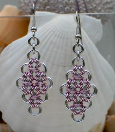Shiny Silver and Pink Diamond Chainmaile Earrings  by DaisiesChain, $15.00