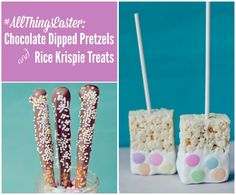 all things easter chocolate dipped pretzels and rice kris pie treats #allthingseaster