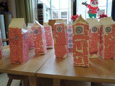 Thema Hallo wereld: the Big Ben. Melkpak beplakken met steentjespapier en klokken.