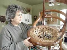 Restoring the cane seat in a historic chair. - YouTube