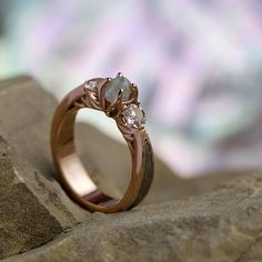 Three Stone Engagement Ring With Rough Diamond And Morganite