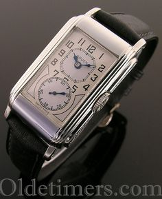 A rare 14 ct white gold vintage Gruen 'Techni-Quadron' or 'Doctors' watch, 1930s