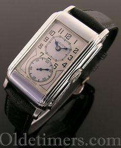 A rare 14 ct white gold vintage Gruen 'Techni-Quadron' or 'Doctors' watch, 1930s